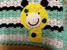 Hand crocheT baby blanket/lap afghan-BOY/GIRL GIRAFFE Green CUTE NEW SHOWER GIFT