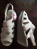 Skechers Women Stylin Suede Peep-toe Slingback Wedge Sandals Tan Size 9