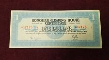 1933 Territory of Hawaii Honolulu Clearing House Certificate One Dollar EF