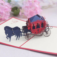 GX- KQ_ Creative 3D Pop Up Horse Carriage Paper Craft Card Thanksgiving Birthday