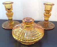 Decorative Art Deco Amber Glass Ladies Dressing Table Vanity Set Candlestick Pot