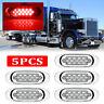 """5x 6.5"""" LED Side Marker Turn Signal Light For Peterbilt Mack Chrome 16 LED Red"""
