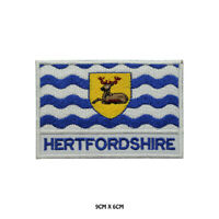HERTFORDSHIRE County Flag With Name Embroidered Patch Iron on Sew On Badge