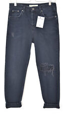 Topshop Boyfriend HAYDEN Blue Black Mid Rise RIPPED Crop Jeans Size 16 W34 L30