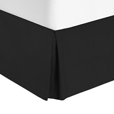 "Premium Luxury Pleated Tailored Bed Skirt - 14"" Drop Dust Ruffle, Queen - Black"