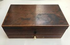 Anitque wooden box with working latch and key with false bottom