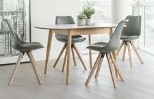 Scandi Style Extending White Top Dining Table and 6 Grey Bucket Faux Seat Chairs