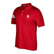 Indiana Hoosiers NCAA Adidas Men's Climacool Red 3-Stripe Golf Polo Shirt