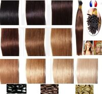 50/100/150 EXTENSIONS POSE A FROID CHEVEUX 100% NATURELS QUALITE REMY 53CM 48H