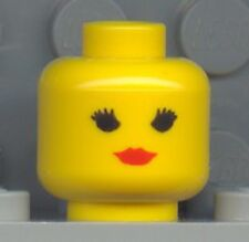 LEGO - Minifig, Head Female with Red Lips, Eyelashes (Standard Woman) - Yellow