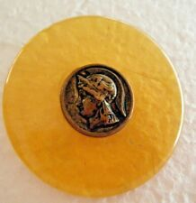 """30s Vtg picture button lucite amber color w picture button worrier in 2""""or 50mm"""