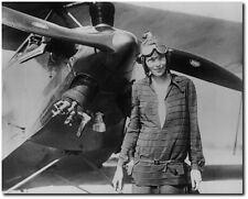 Amelia Earhart with Bi-Plane - Remastered 8 x 10 Photo - Aviation Art & Gifts