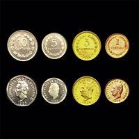 [S-1] EL Salvador set 4 Coins, 1+3+5+10 centavos,  1972-1995 ,UNC