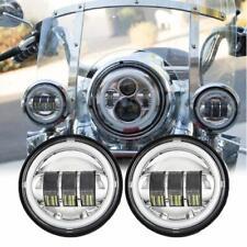 """4.5"""" LED Passing Light DRL Halo Ring Lamp Fog Spot Light For Harley Road King"""