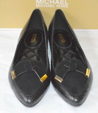 New $125 Michael Kors Rosie Flat Black Suede/Snake Print Leather sz 6.5 Flats