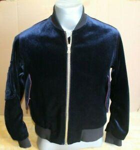 Sandro Paris Blue Velvet Bomber Jacket  Womens  Size 1 / 44 Large