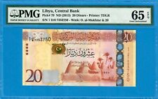 LIBYA-20 DINARS-2013-PICK 79-SERIAL NUMBER 7353750 **PMG 65 EPQ GEM UNC**