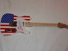 HEART SIGNED USA FLAG ELECTRIC STRAT GUITAR NANCY ANN WILSON VERY RARE JSA COA