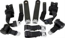 74-81 CAMARO FIREBIRD CLASSIC SUNBURST RETRACTABLE BLACK SEAT BELTS COMPLETE KIT