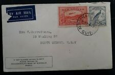 RARE c.1939 New Guinea Airmail Cover ties 2 stamps cancelled Rabaul