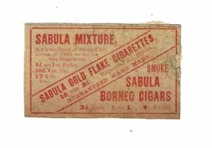 1 Old British 1900s matchbox label Sabula Gold Flake Guaranteed Hand Made.