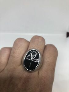 Vintage Silver Stainless Steel Egyptian Ankh Size 10 Ring