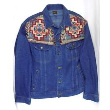Vintage Lee Denim Jean Jacket With Custom Fabric Patch Design Size XL