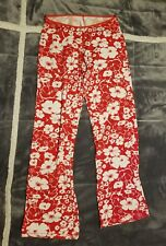 Womens Citrus Red White Floral Comfy Stretchy Everyday Yoga Lounge Pants Sz S