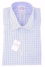 $69 Eagle Men's Regular Fit Dress Shirt Non Iron Blue White Plaid 16 1/2 32 33 L