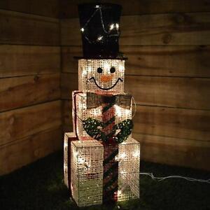 Large LED Square Snowman Figure Light Christmas Decoration 75cm Pre-Lit Frosty