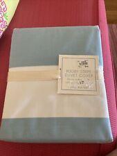 New Nwt Pottery Barn Kids Rugby Stripe Duvet Cover Full Queen White