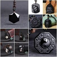 Natural Black Obsidian Carved Buddha Lucky Amulet Necklace Pendant For Women