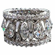 Marquise baguette eternity statement band sterling silver 925 solid ring jewelry
