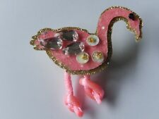 Brooch ~ Flamingo Badge Novelty Flamingo Fabric and Sequin