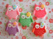 5 x Super Sweet Little Baby Owls Flatback Resin Embellishment Crafts Cabochon UK