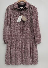 Burberry Brit Floral 100% Silk Garnet Pink  Dress Size-8 New-$695