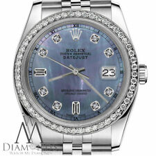 Ladies Rolex 36mm Datejust Tahitian Mother of Pearl 8+2 Diamond Dial RT Watch