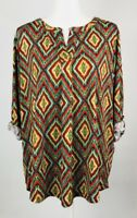 Jones New York Top Shirt Blouse Plus 1X Yellow Red Stretch Tab Sleeve Colorful
