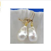 AAA 16 mm Natural baroque white reborn keshi pearl dangle earring