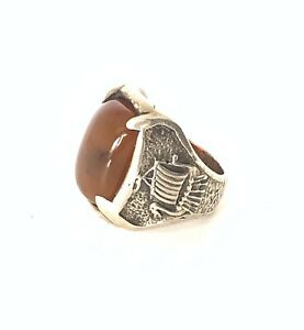 Vintage Mens Heavy Silver Viking Norse Brown Agate Ring Size 10 Aprox 1 oz /28gm