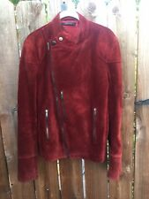 Gucci Vera Pelle Leather Burgundy Suede Jacket 46 Ladies motorcycle vintage