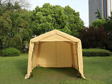 10X10X8ft Auto Storage Logic Shelter Car Garage Steel Carport Canopy Tent Beige