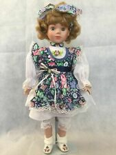 Studio 5 Collection Porcelain Doll Floral Garden Green Eyes Blond Hand Painted