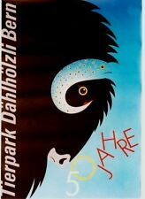 Original vintage poster SWISS ANIMAL PARK BUFFALO FISH 1987