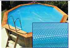 4m ext. (3.6m int.) Octagonal Wooden Pool Solar Bubble Cover 200 micron Blue