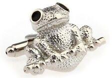 Cufflinks Frog Toad Amphibian Silver Business Shirt Wedding Gift + Box & Cleaner