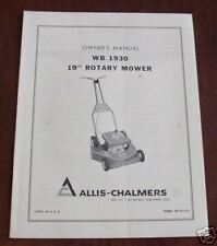 "ALLIS CHALMERS 19"" WB 1930  ROTARY MOWER OWNER MANUAL"