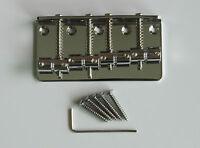 Chrome 4 String Electric J Bass or P Bass Bridge for Jazz/Precision Bass Guitar
