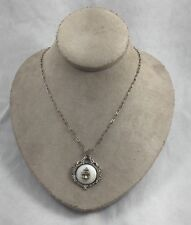 Vintage Marcasite, Mother of Pearl Sterling Navy Sweetheart Pendant & Necklace