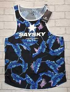 Saysky Paradise Combat Running Singlet, Blue Leaf Print, Men's Large RRP £44